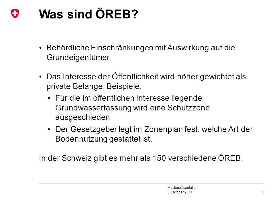 Musterpräsentation 3. Oktober 2014 Was sind ÖREB? Behördliche Einschränkungen mit Auswirkung auf die Grundeigentümer. Das Interesse der Öffentlichkeit