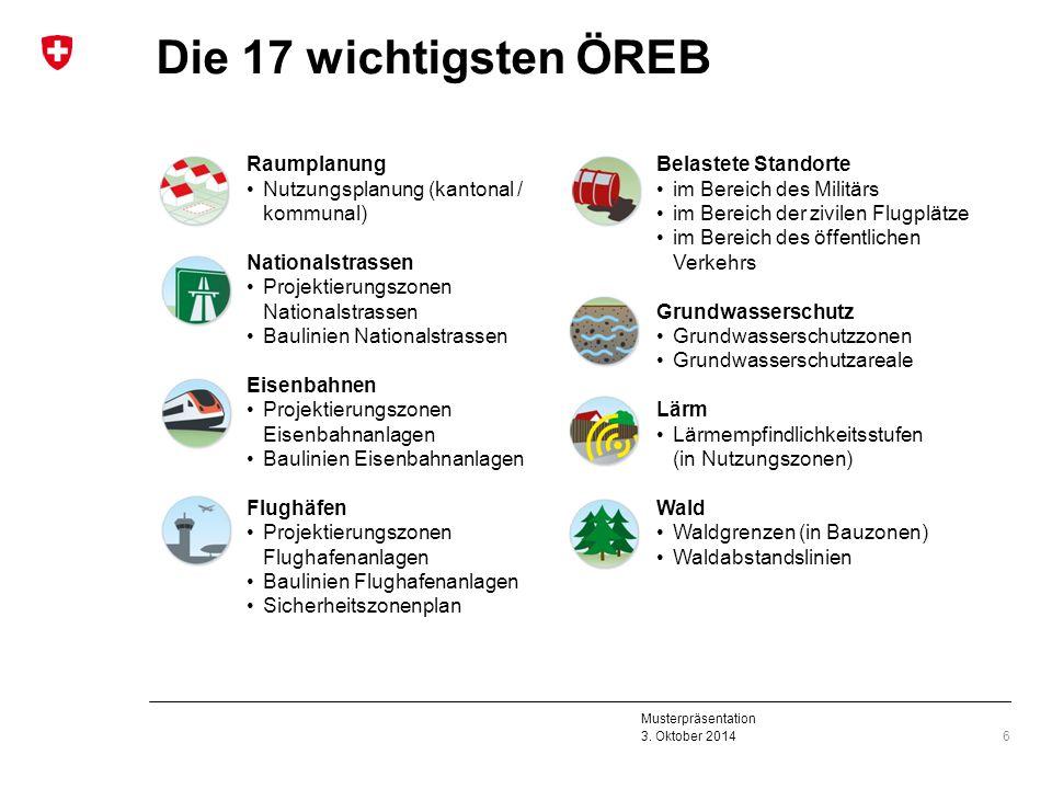 Musterpräsentation 3. Oktober 2014 Die 17 wichtigsten ÖREB 6 Raumplanung Nutzungsplanung (kantonal / kommunal) Nationalstrassen Projektierungszonen Na
