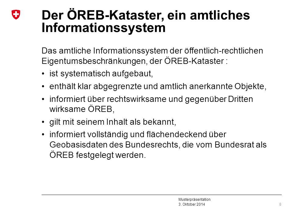 Musterpräsentation 3. Oktober 2014 Der ÖREB-Kataster, ein amtliches Informationssystem Das amtliche Informationssystem der öffentlich-rechtlichen Eige