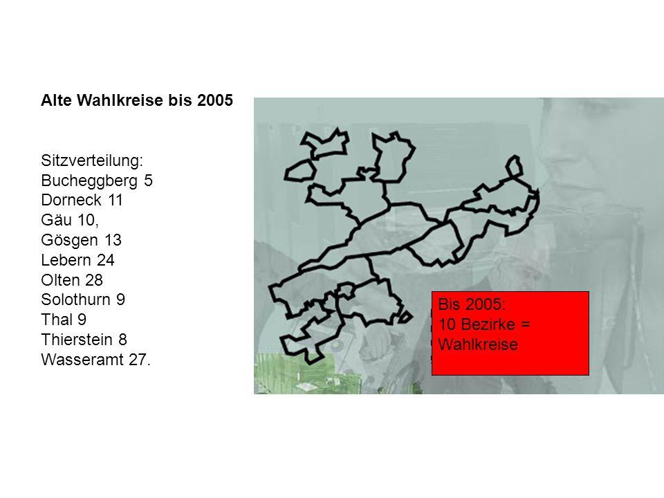 Alte Wahlkreise bis 2005 Sitzverteilung: Bucheggberg 5 Dorneck 11 Gäu 10, Gösgen 13 Lebern 24 Olten 28 Solothurn 9 Thal 9 Thierstein 8 Wasseramt 27. B
