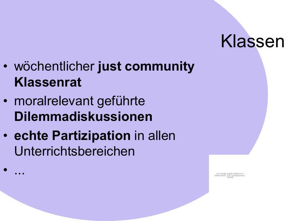 Klassen wöchentlicher just community Klassenrat moralrelevant geführte Dilemmadiskussionen echte Partizipation in allen Unterrichtsbereichen...