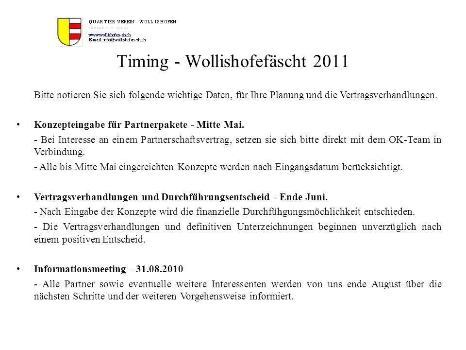 Timing - Wollishofefäscht 2011 Bitte notieren Sie sich folgende wichtige Daten, für Ihre Planung und die Vertragsverhandlungen. Konzepteingabe für Par