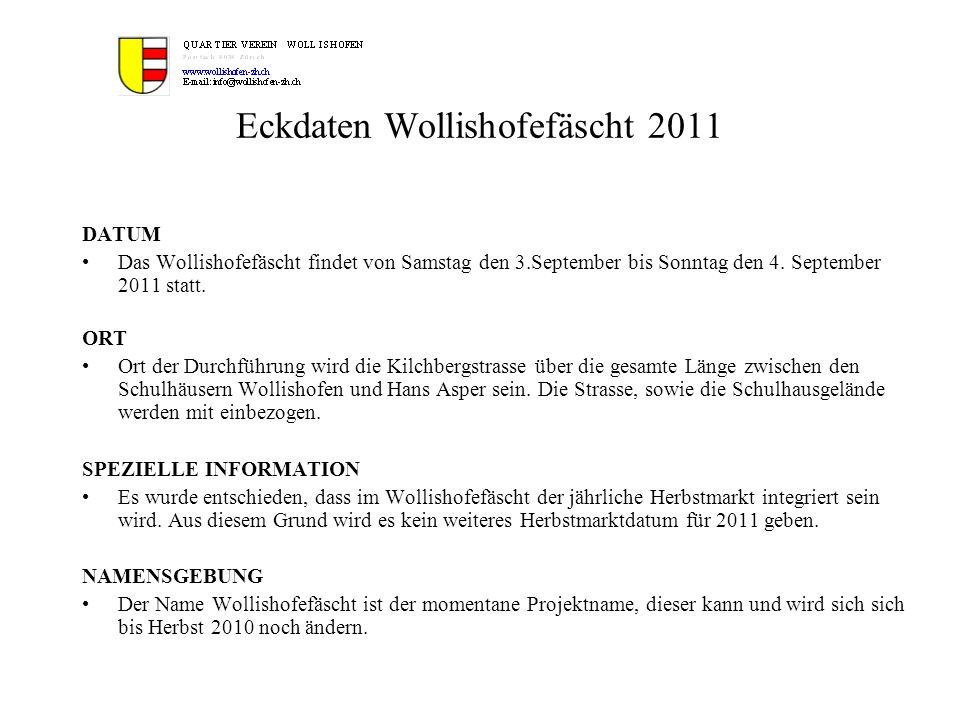 Eckdaten Wollishofefäscht 2011 DATUM Das Wollishofefäscht findet von Samstag den 3.September bis Sonntag den 4. September 2011 statt. ORT Ort der Durc