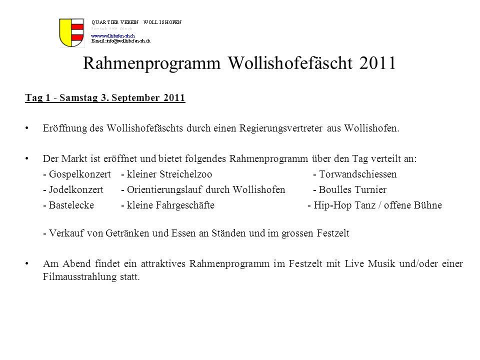 Rahmenprogramm Wollishofefäscht 2011 Tag 1 - Samstag 3. September 2011 Eröffnung des Wollishofefäschts durch einen Regierungsvertreter aus Wollishofen