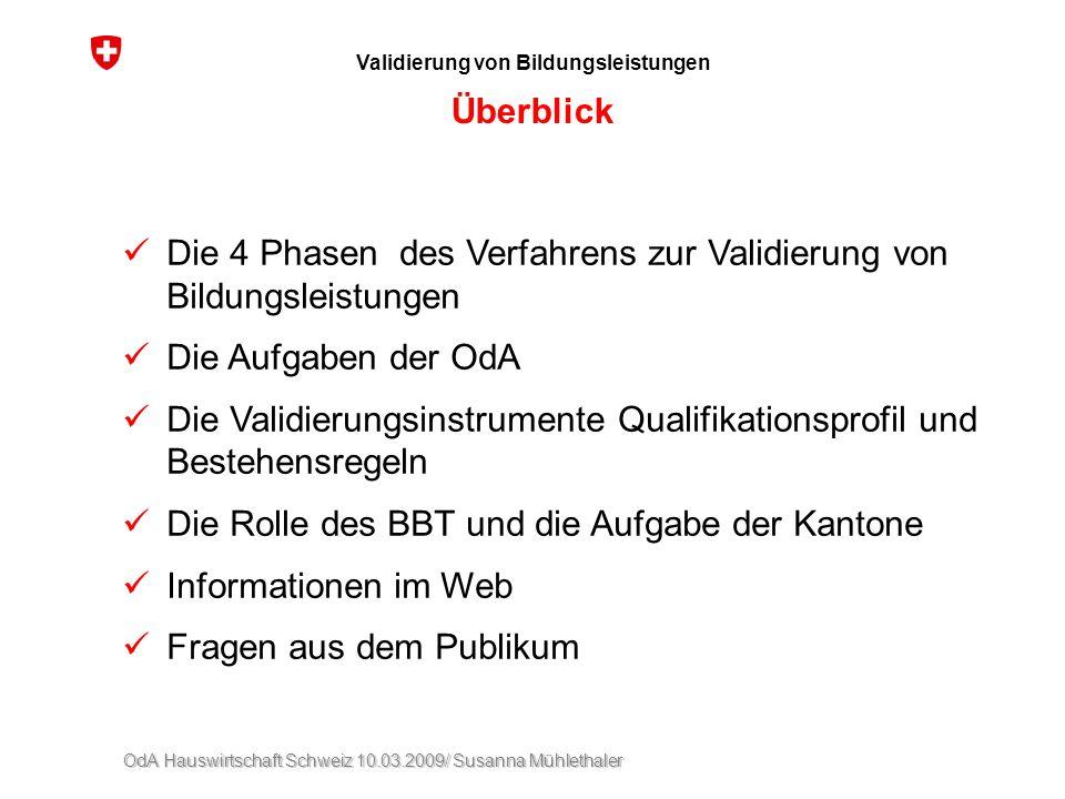 OdA Hauswirtschaft Schweiz 10.03.2009/ Susanna Mühlethaler Validierung von Bildungsleistungen Überblick Die 4 Phasen des Verfahrens zur Validierung vo