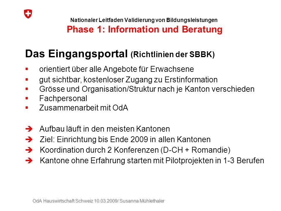 OdA Hauswirtschaft Schweiz 10.03.2009/ Susanna Mühlethaler Nationaler Leitfaden Validierung von Bildungsleistungen Phase 1: Information und Beratung D