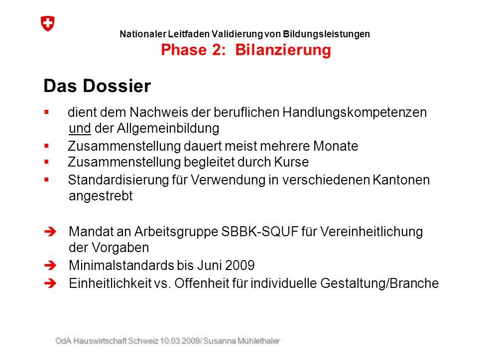 OdA Hauswirtschaft Schweiz 10.03.2009/ Susanna Mühlethaler Nationaler Leitfaden Validierung von Bildungsleistungen Phase 2: Bilanzierung Das Dossier 