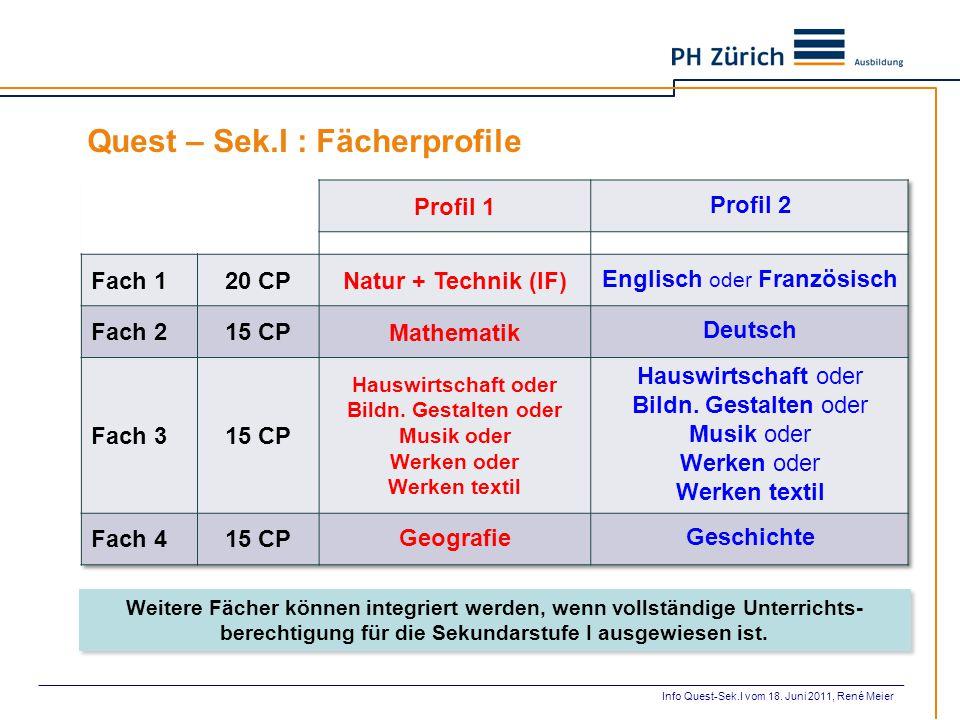 Quest – Sek.I : Fächerprofile Weitere Fächer können integriert werden, wenn vollständige Unterrichts- berechtigung für die Sekundarstufe I ausgewiesen