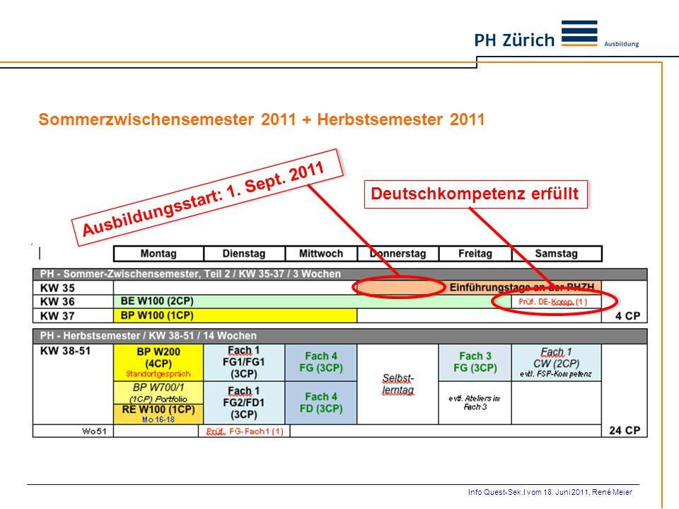 Deutschkompetenz erfüllt Ausbildungsstart: 1. Sept. 2011 Sommerzwischensemester 2011 + Herbstsemester 2011 Info Quest-Sek.I vom 18. Juni 2011, René Me