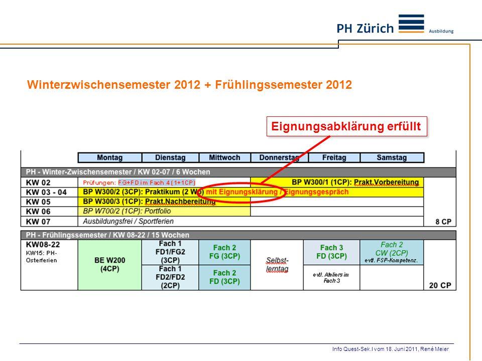 Eignungsabklärung erfüllt Winterzwischensemester 2012 + Frühlingssemester 2012 Info Quest-Sek.I vom 18. Juni 2011, René Meier