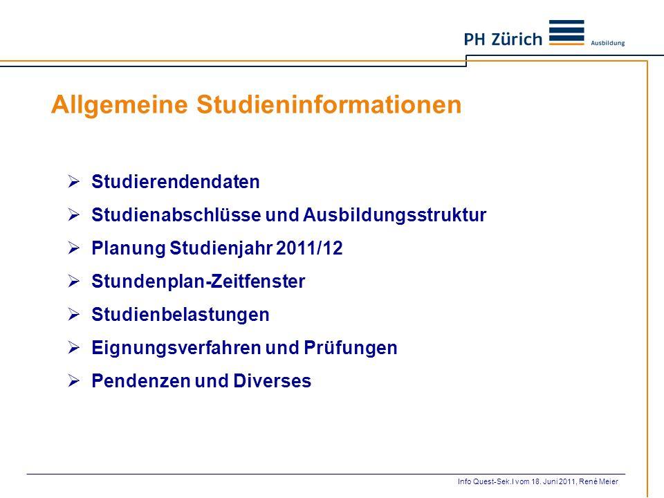 Quest – Sek.I: Fachausbildung, Semesterabfolge Info Quest-Sek.I vom 18. Juni 2011, René Meier