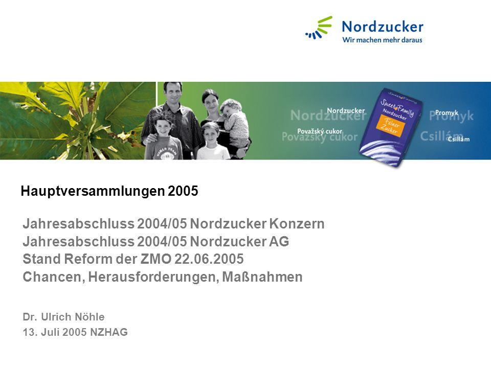 Jahresabschluss 2004/05 Nordzucker Konzern Jahresabschluss 2004/05 Nordzucker AG Stand Reform der ZMO 22.06.2005 Chancen, Herausforderungen, Maßnahmen