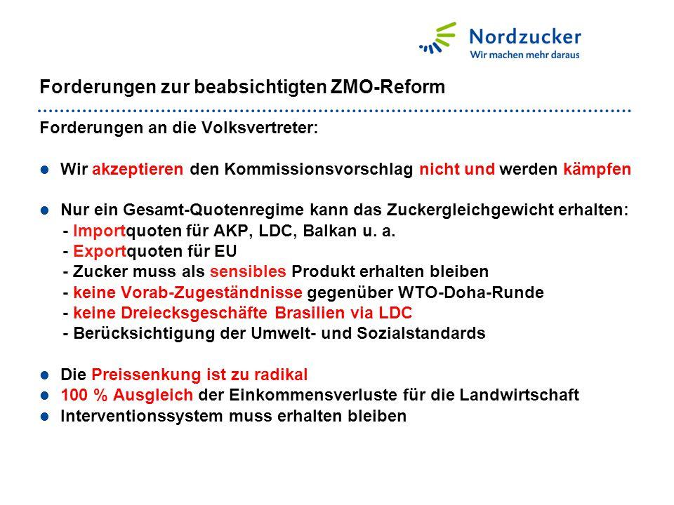 Forderungen zur beabsichtigten ZMO-Reform Forderungen an die Volksvertreter: Wir akzeptieren den Kommissionsvorschlag nicht und werden kämpfen Nur ein