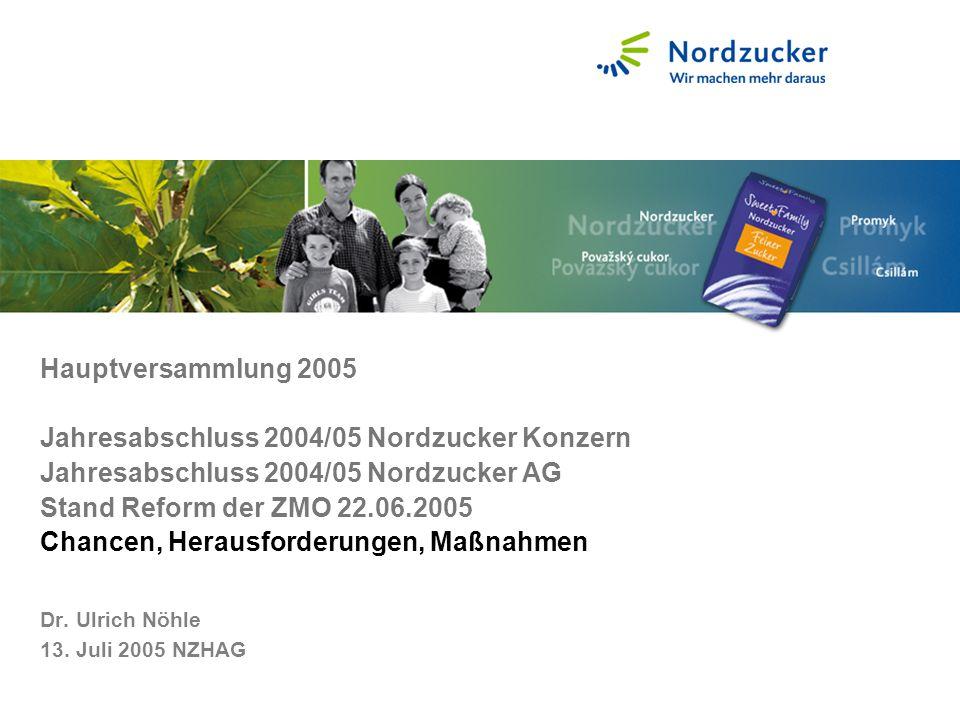 Hauptversammlung 2005 Jahresabschluss 2004/05 Nordzucker Konzern Jahresabschluss 2004/05 Nordzucker AG Stand Reform der ZMO 22.06.2005 Chancen, Heraus