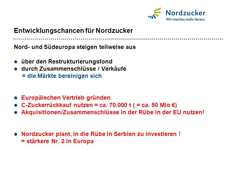 Entwicklungschancen für Nordzucker Nord- und Südeuropa steigen teilweise aus über den Restrukturierungsfond durch Zusammenschlüsse / Verkäufe = die Mä