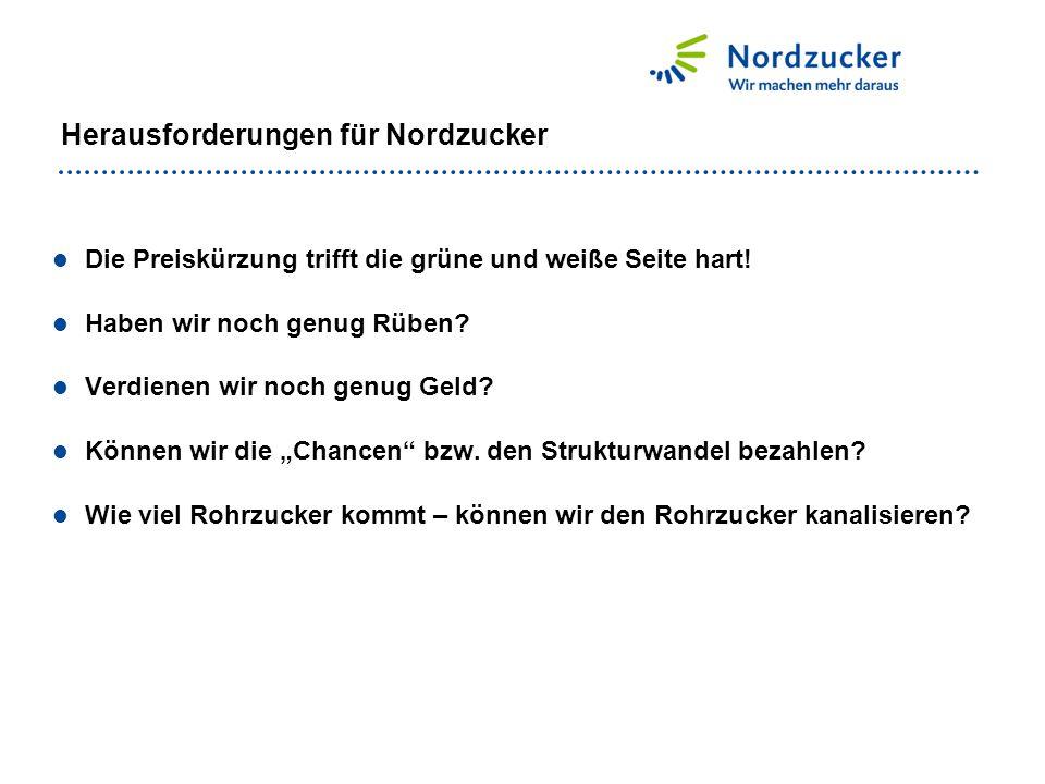 Herausforderungen für Nordzucker Die Preiskürzung trifft die grüne und weiße Seite hart! Haben wir noch genug Rüben? Verdienen wir noch genug Geld? Kö