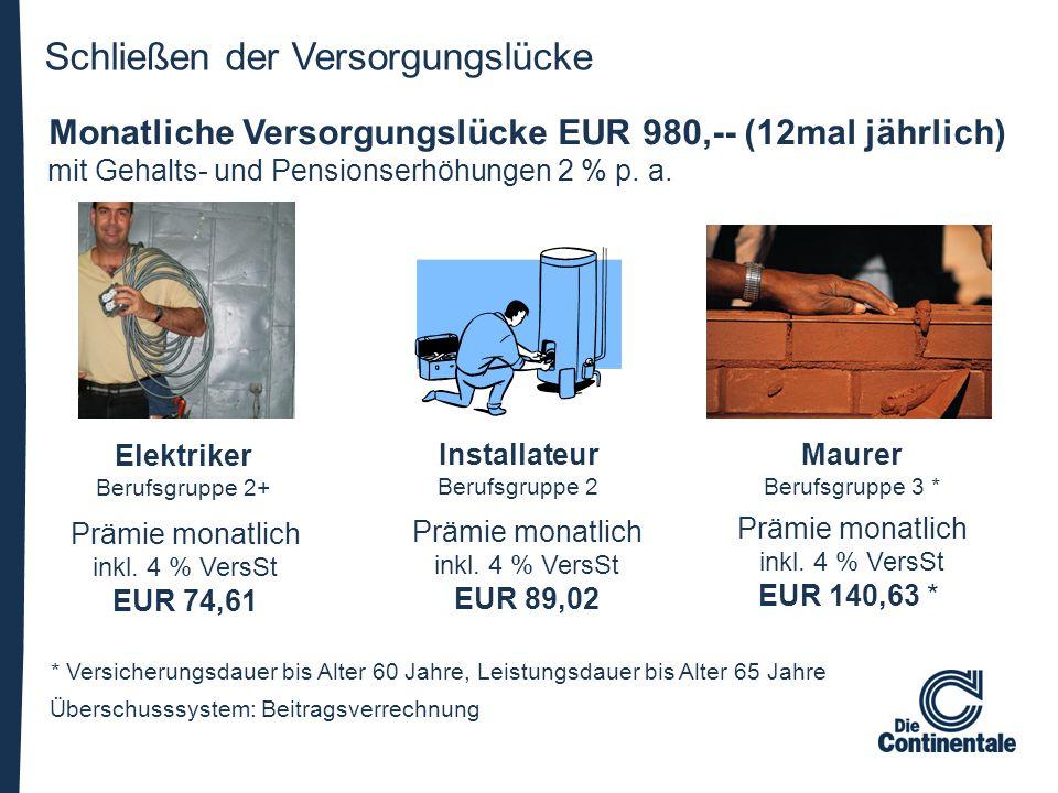 Schließen der Versorgungslücke Überschusssystem: Beitragsverrechnung Prämie monatlich inkl. 4 % VersSt EUR 74,61 Prämie monatlich inkl. 4 % VersSt EUR