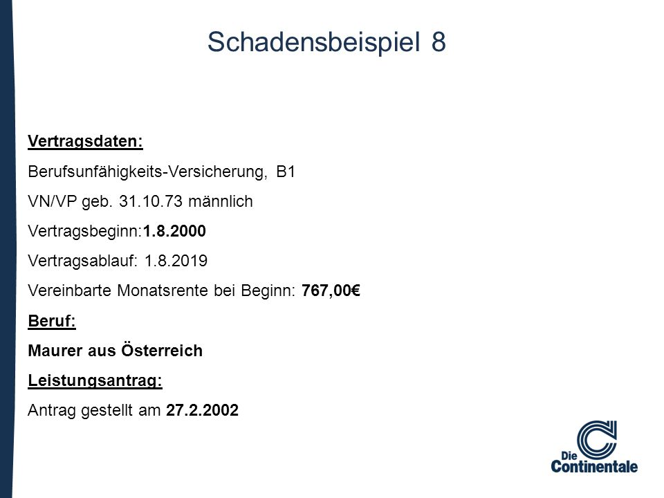 Schadensbeispiel 8 Vertragsdaten: Berufsunfähigkeits-Versicherung, B1 VN/VP geb. 31.10.73 männlich Vertragsbeginn:1.8.2000 Vertragsablauf: 1.8.2019 Ve