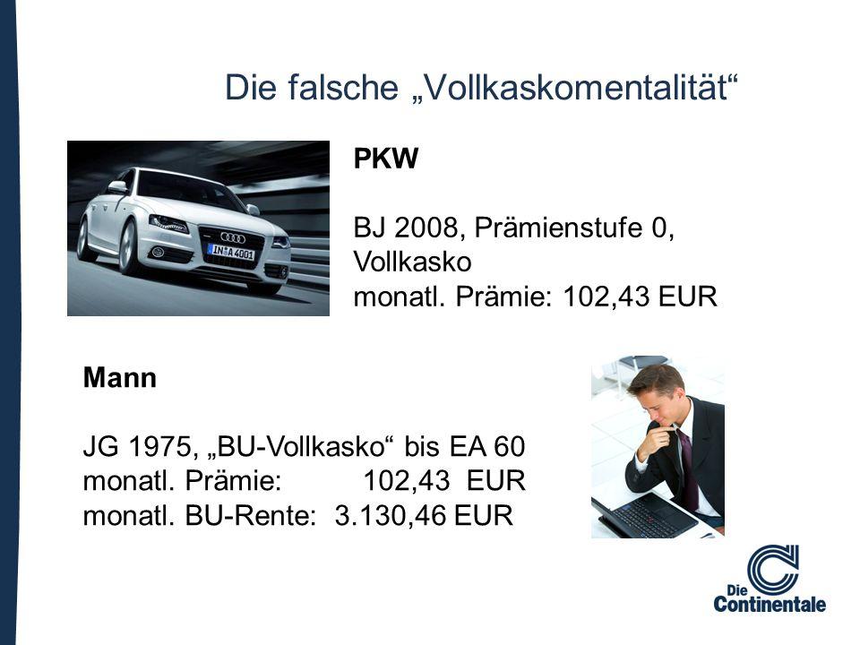 """Mann JG 1975, """"BU-Vollkasko"""" bis EA 60 monatl. Prämie: 102,43 EUR monatl. BU-Rente: 3.130,46 EUR PKW BJ 2008, Prämienstufe 0, Vollkasko monatl. Prämie"""