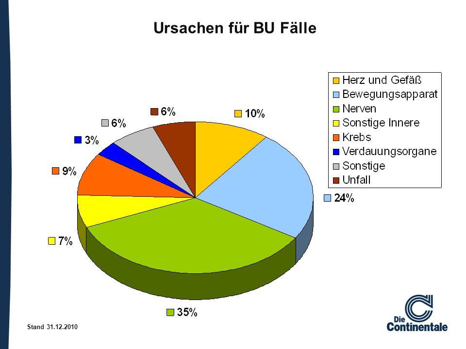 Stand 31.12.2010 Ursachen für BU Fälle