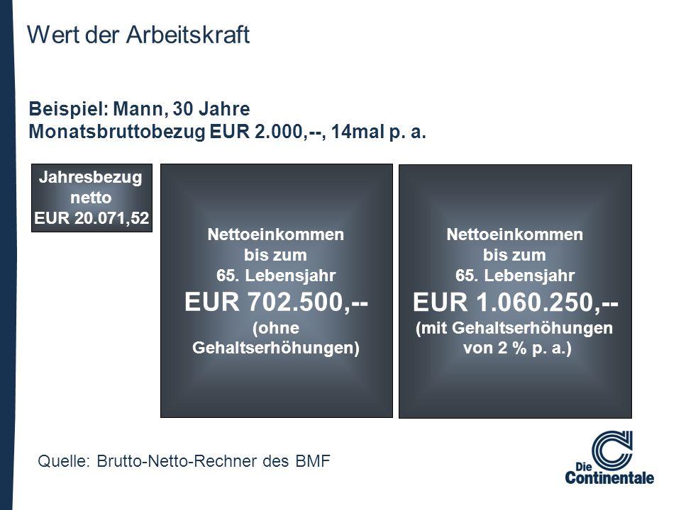 Wert der Arbeitskraft Quelle: Brutto-Netto-Rechner des BMF Beispiel: Mann, 30 Jahre Monatsbruttobezug EUR 2.000,--, 14mal p. a. Jahresbezug netto EUR