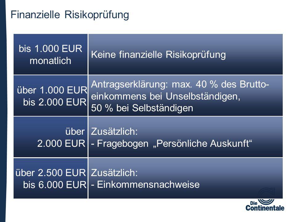 Finanzielle Risikoprüfung über 2.500 EUR bis 6.000 EUR über 2.000 EUR über 1.000 EUR bis 2.000 EUR Zusätzlich: - Einkommensnachweise Zusätzlich: - Fra