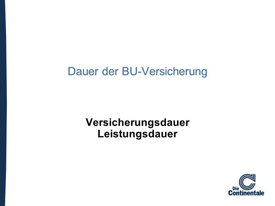 Dauer der BU-Versicherung Versicherungsdauer Leistungsdauer