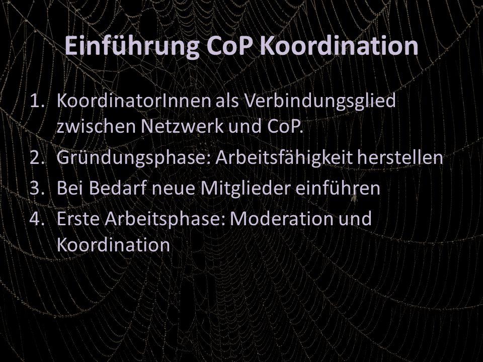 Einführung CoP Koordination 1.KoordinatorInnen als Verbindungsglied zwischen Netzwerk und CoP.