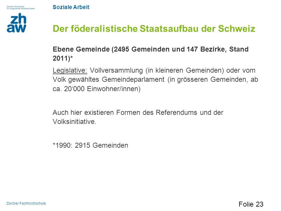 Soziale Arbeit Zürcher Fachhochschule Der föderalistische Staatsaufbau der Schweiz Ebene Gemeinde (2495 Gemeinden und 147 Bezirke, Stand 2011)* Legisl
