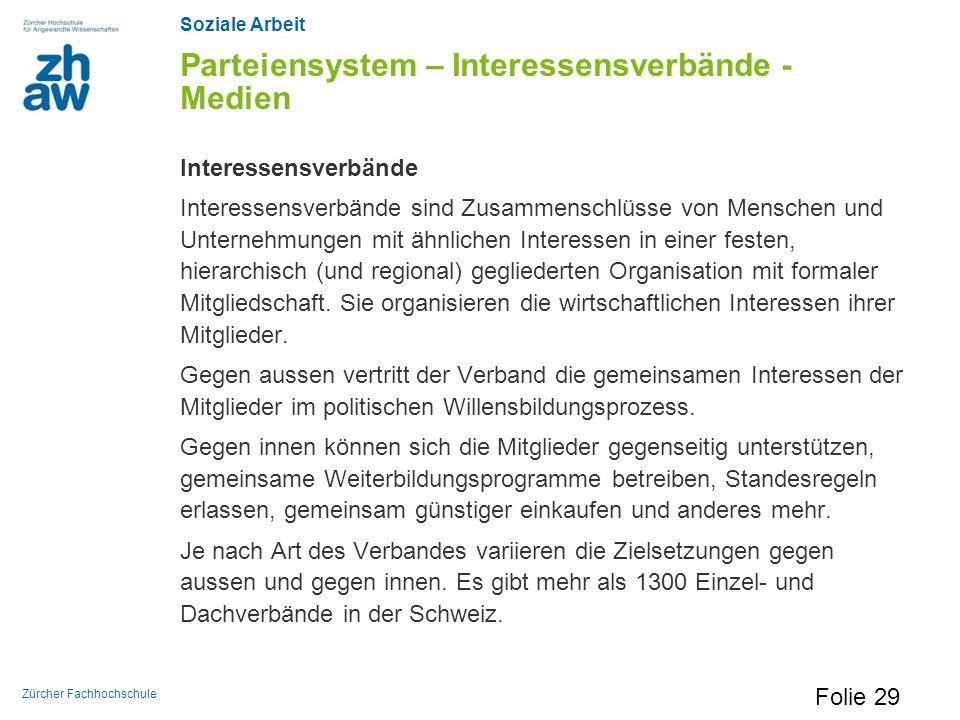 Soziale Arbeit Zürcher Fachhochschule Parteiensystem – Interessensverbände - Medien Interessensverbände Interessensverbände sind Zusammenschlüsse von
