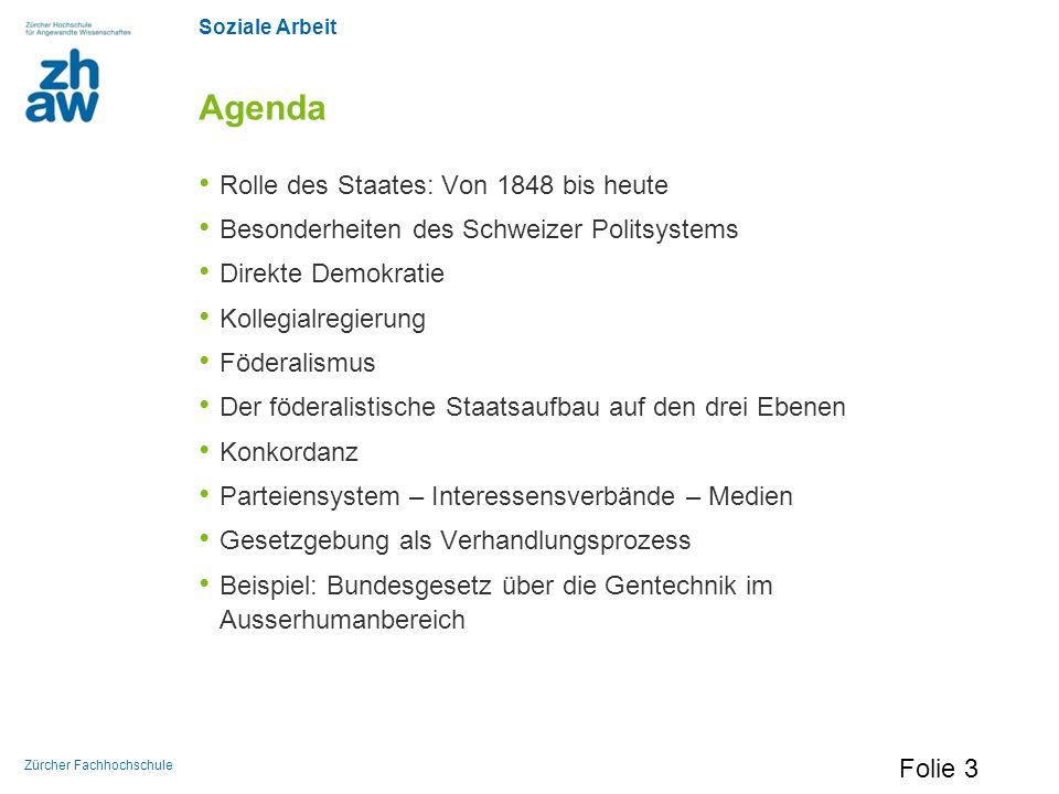 Soziale Arbeit Zürcher Fachhochschule Agenda Rolle des Staates: Von 1848 bis heute Besonderheiten des Schweizer Politsystems Direkte Demokratie Kolleg