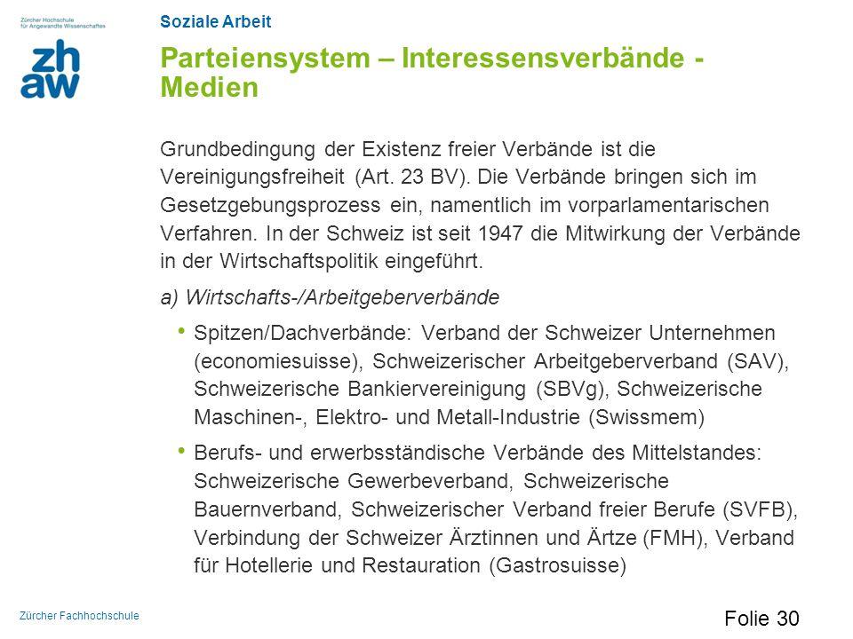 Soziale Arbeit Zürcher Fachhochschule Parteiensystem – Interessensverbände - Medien Grundbedingung der Existenz freier Verbände ist die Vereinigungsfr