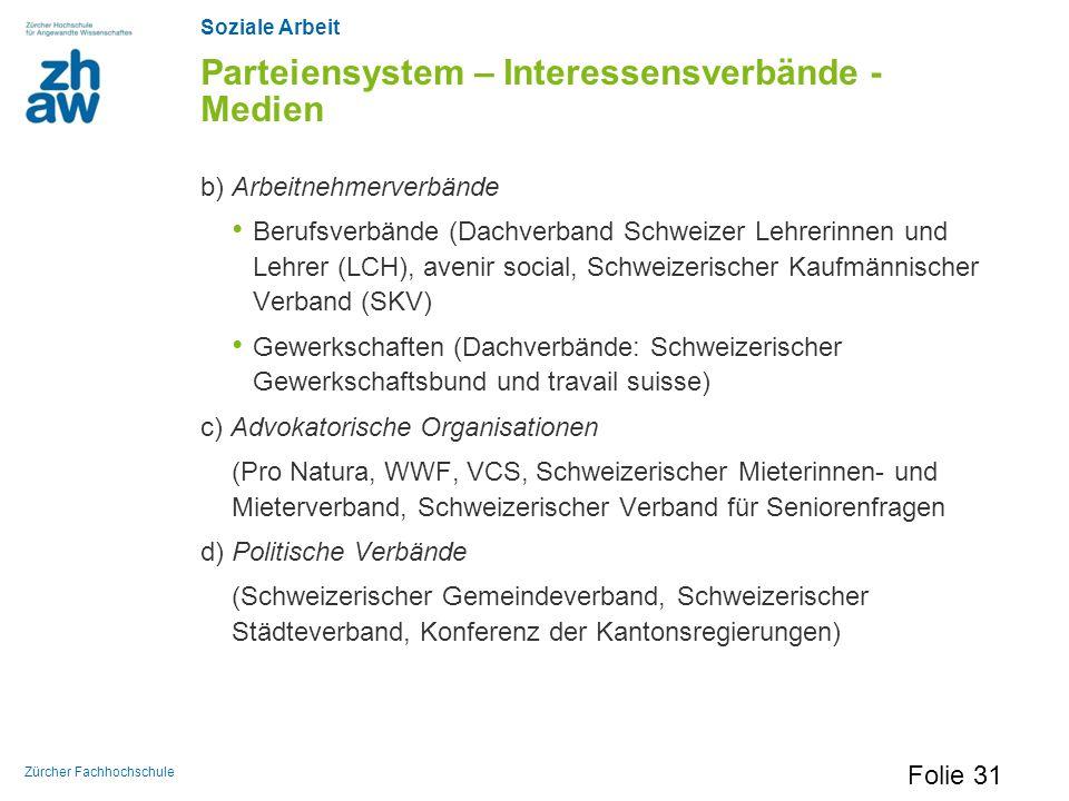 Soziale Arbeit Zürcher Fachhochschule Parteiensystem – Interessensverbände - Medien b) Arbeitnehmerverbände Berufsverbände (Dachverband Schweizer Lehr
