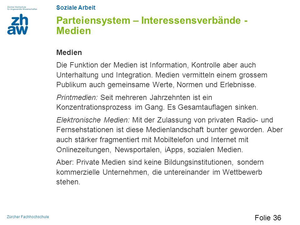 Soziale Arbeit Zürcher Fachhochschule Parteiensystem – Interessensverbände - Medien Medien Die Funktion der Medien ist Information, Kontrolle aber auc