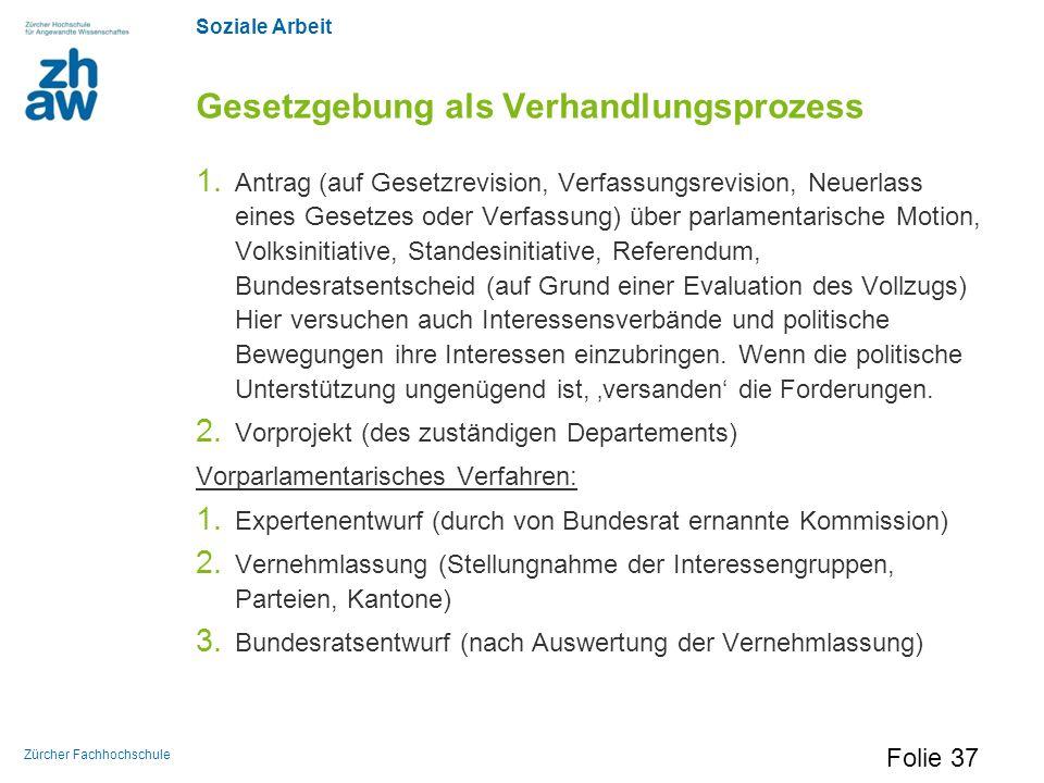 Soziale Arbeit Zürcher Fachhochschule Gesetzgebung als Verhandlungsprozess 1. Antrag (auf Gesetzrevision, Verfassungsrevision, Neuerlass eines Gesetze