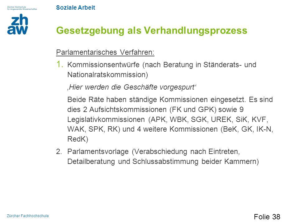 Soziale Arbeit Zürcher Fachhochschule Gesetzgebung als Verhandlungsprozess Parlamentarisches Verfahren: 1. Kommissionsentwürfe (nach Beratung in Ständ