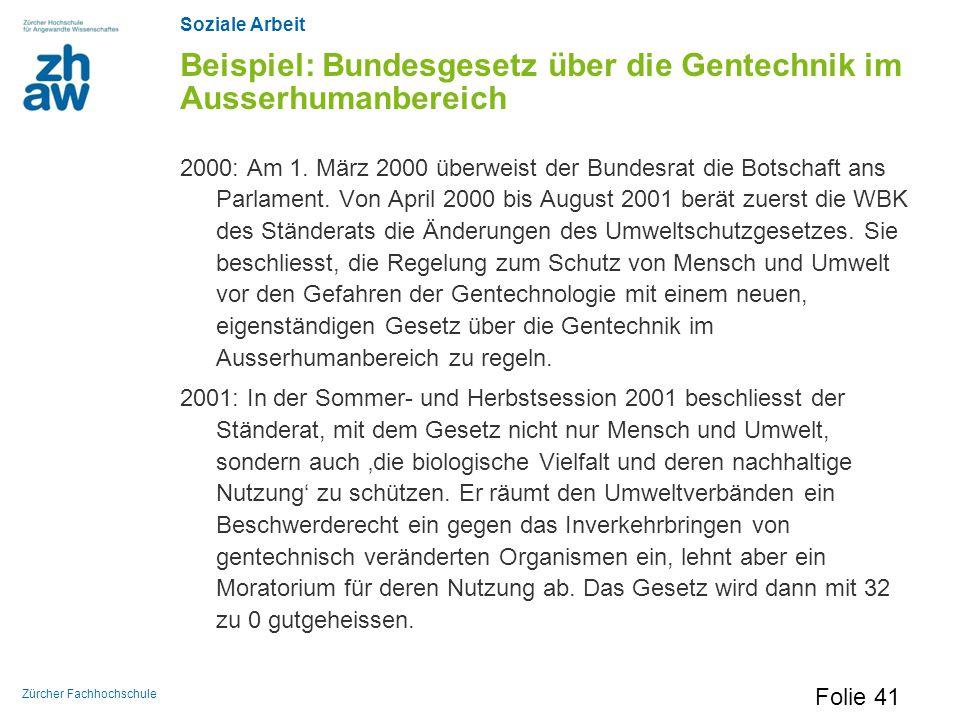 Soziale Arbeit Zürcher Fachhochschule Beispiel: Bundesgesetz über die Gentechnik im Ausserhumanbereich 2000: Am 1. März 2000 überweist der Bundesrat d