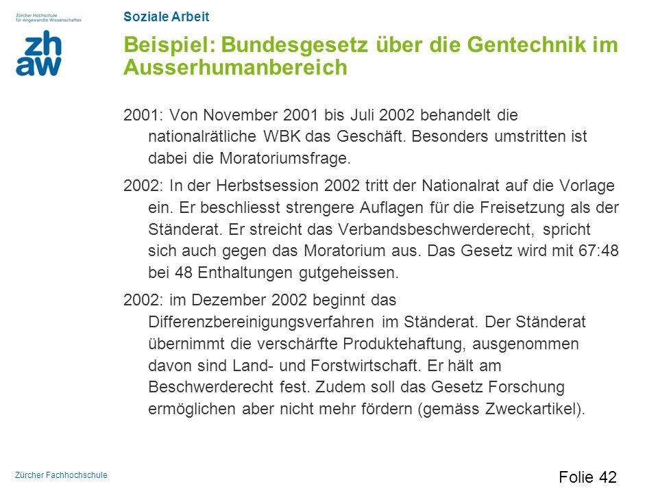 Soziale Arbeit Zürcher Fachhochschule Beispiel: Bundesgesetz über die Gentechnik im Ausserhumanbereich 2001: Von November 2001 bis Juli 2002 behandelt