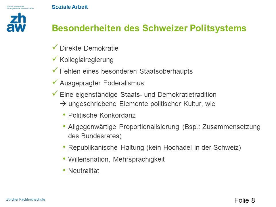 Soziale Arbeit Zürcher Fachhochschule Besonderheiten des Schweizer Politsystems Direkte Demokratie Kollegialregierung Fehlen eines besonderen Staatsob