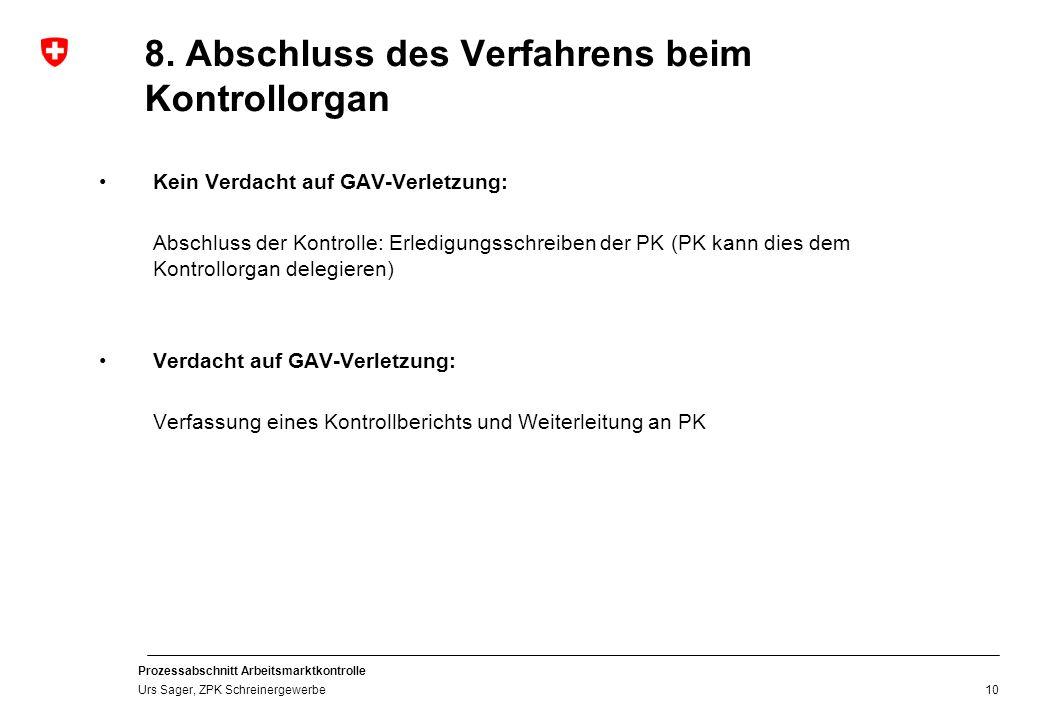 Prozessabschnitt Arbeitsmarktkontrolle Urs Sager, ZPK Schreinergewerbe 8. Abschluss des Verfahrens beim Kontrollorgan Kein Verdacht auf GAV-Verletzung