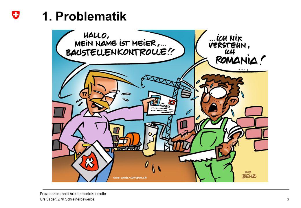 Prozessabschnitt Arbeitsmarktkontrolle Urs Sager, ZPK Schreinergewerbe 3 1. Problematik