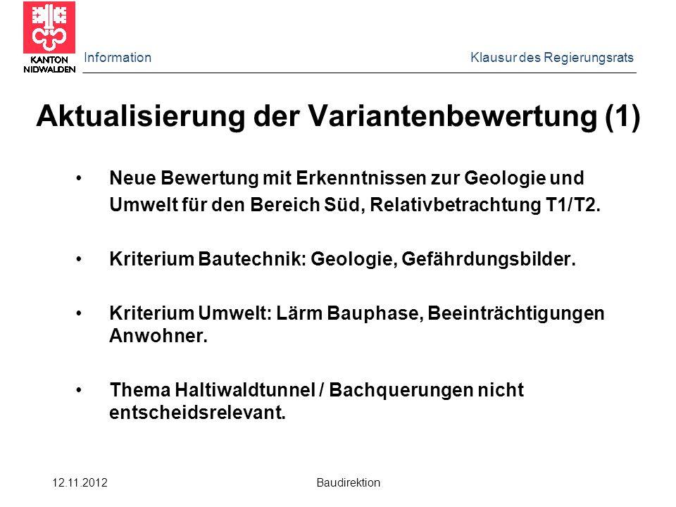 Information Klausur des Regierungsrats 12.11.2012 Baudirektion Aktualisierung der Variantenbewertung (1) Neue Bewertung mit Erkenntnissen zur Geologie und Umwelt für den Bereich Süd, Relativbetrachtung T1/T2.