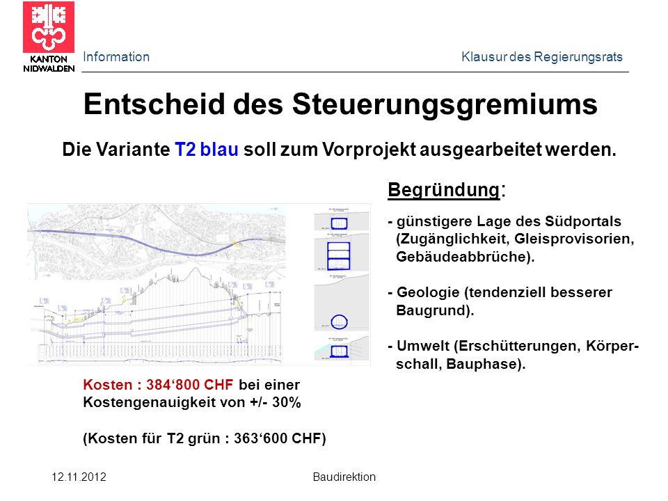Information Klausur des Regierungsrats 12.11.2012 Baudirektion Entscheid des Steuerungsgremiums Die Variante T2 blau soll zum Vorprojekt ausgearbeitet werden.