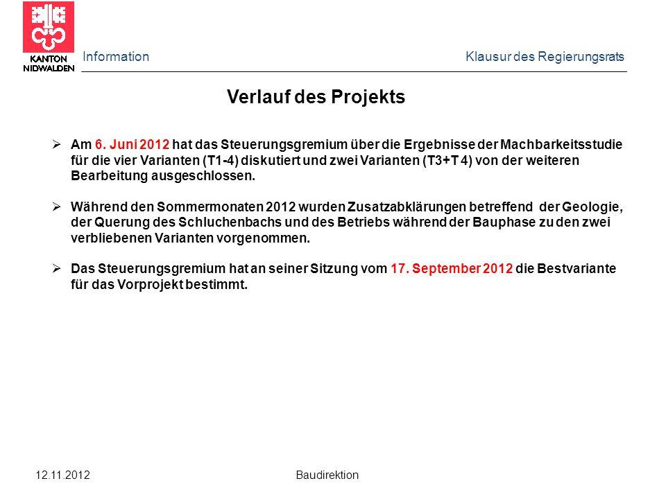 Information Klausur des Regierungsrats 12.11.2012 Baudirektion  Am 6.