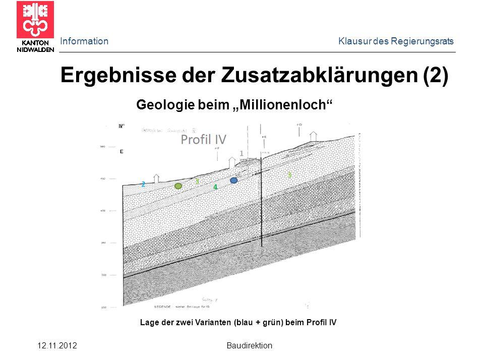 """Information Klausur des Regierungsrats 12.11.2012 Baudirektion Ergebnisse der Zusatzabklärungen (2) Geologie beim """"Millionenloch Lage der zwei Varianten (blau + grün) beim Profil IV"""