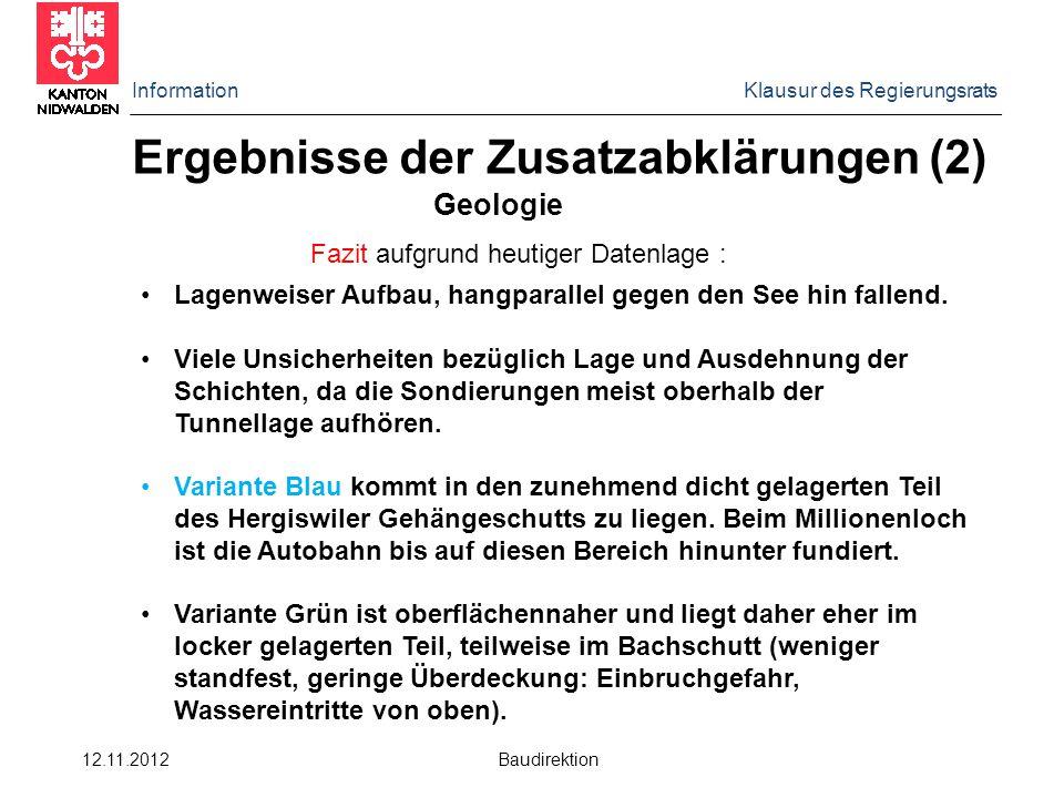 Information Klausur des Regierungsrats 12.11.2012 Baudirektion Ergebnisse der Zusatzabklärungen (2) Geologie Fazit aufgrund heutiger Datenlage : Lagenweiser Aufbau, hangparallel gegen den See hin fallend.