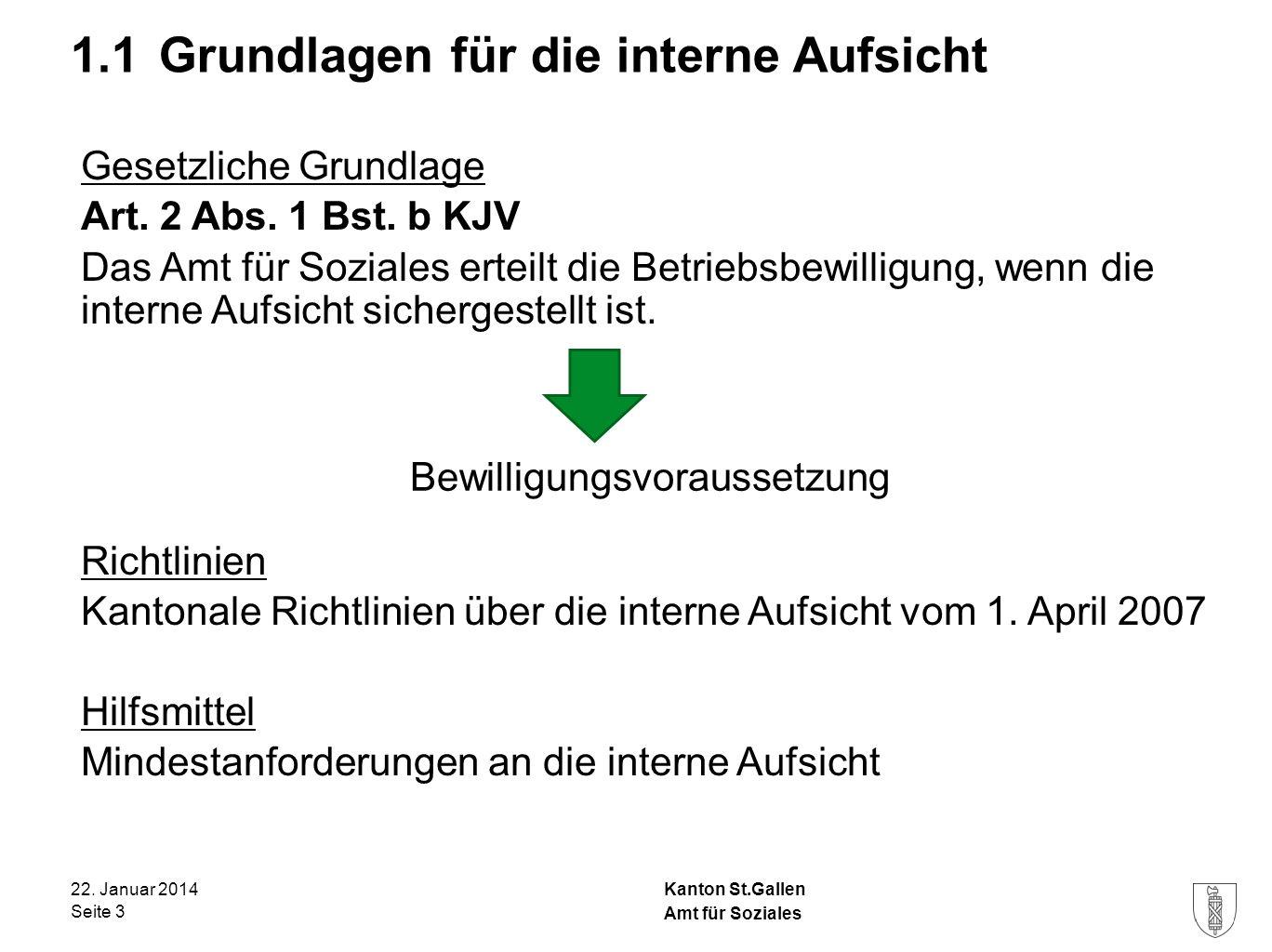Kanton St.Gallen 1.1 Grundlagen für die interne Aufsicht 22. Januar 2014 Seite 3 Amt für Soziales Gesetzliche Grundlage Art. 2 Abs. 1 Bst. b KJV Das A