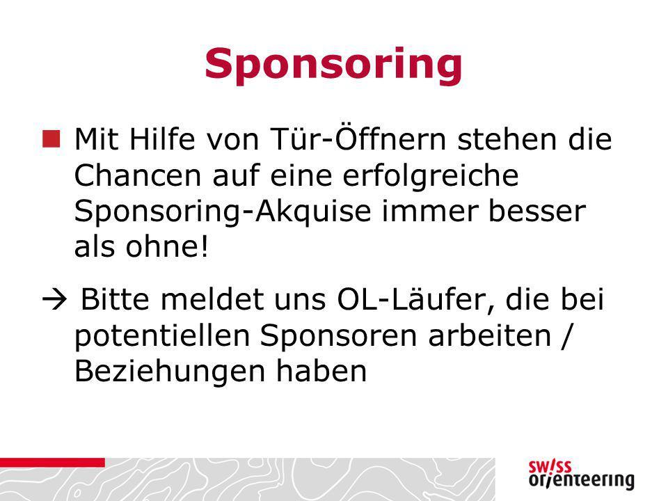 Sponsoring Mit Hilfe von Tür-Öffnern stehen die Chancen auf eine erfolgreiche Sponsoring-Akquise immer besser als ohne!  Bitte meldet uns OL-Läufer,