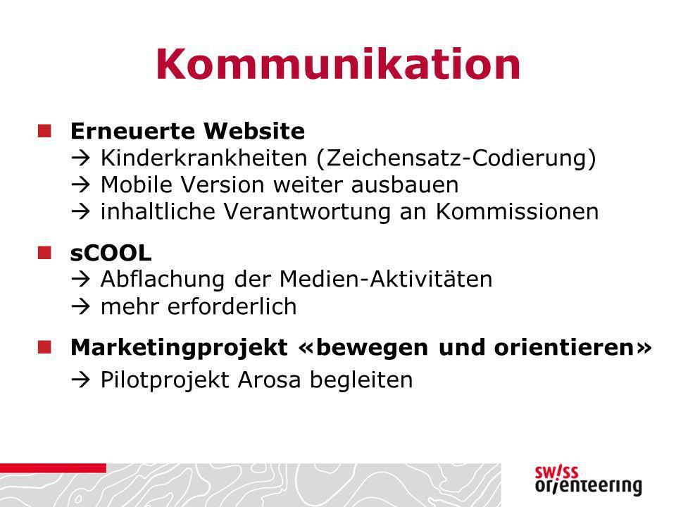 Kommunikation Erneuerte Website  Kinderkrankheiten (Zeichensatz-Codierung)  Mobile Version weiter ausbauen  inhaltliche Verantwortung an Kommission