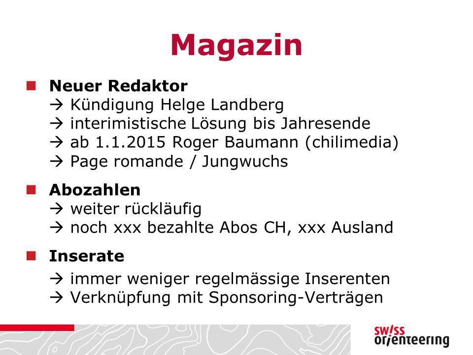 Magazin Neuer Redaktor  Kündigung Helge Landberg  interimistische Lösung bis Jahresende  ab 1.1.2015 Roger Baumann (chilimedia)  Page romande / Ju